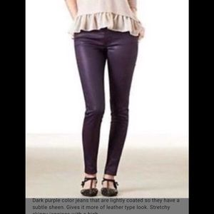 American Apparel XS Dark Purple coated skinny pant
